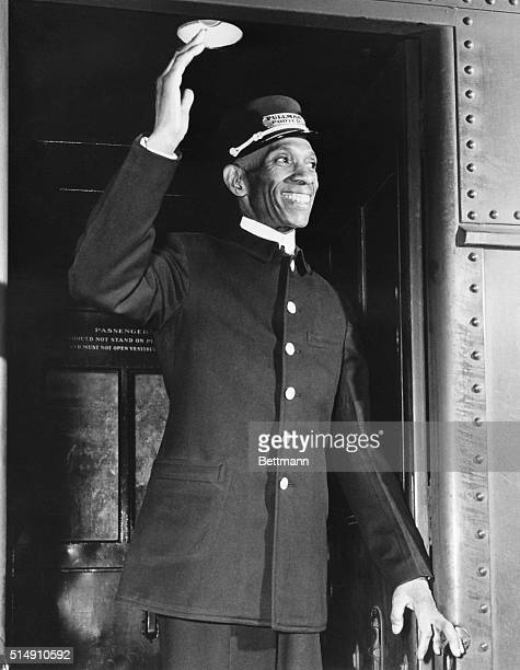 New York New York The nation's oldest Pullman porter in point of service Fred Kid Wright calls AllAboard on the Merchant's Limited as he starts his...