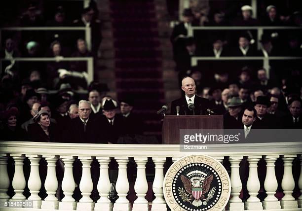Washington, D.C.-ORIGINAL CAPTION READS: President Dwight Eisenhower during his inaugural address. UPI color slide.