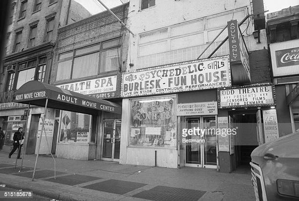 1/21/1973New York New York Theater marquee shows a typical 'program' for movie houses in the Times Square area of New York City The City...