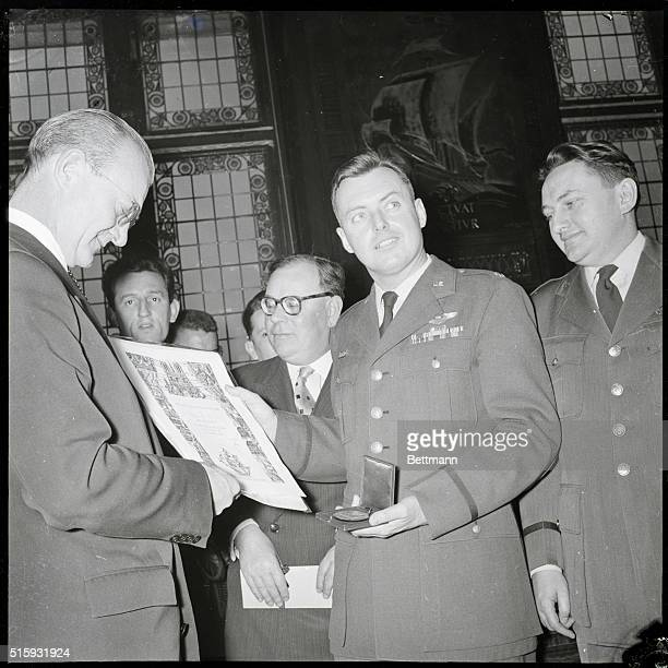 Paris France Paris City Council Chairman Jacques Peron awards the scroll and the medal of the city of Paris to distinguished guest Major Arthur...