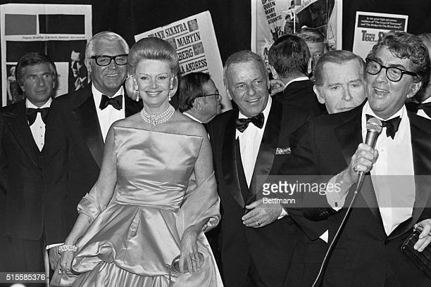Las Vegas, NV: Singer Dean Martin announces the arrival of Frank Sinatra and his wife, Barbara, at a gala celebration at Ceasar's Palace to pay...