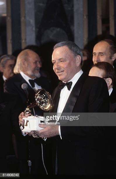 12/12/79Las Vegas NV Frank Sinatra holds the Pied Piper Award presented to him by the American Society of Composers Authors and Publishers during...