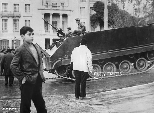 Athens, Greece- Armored vehicle patrols street here Dec. 13 after the Greek military junta announced that King Constantine's counter coup had been...