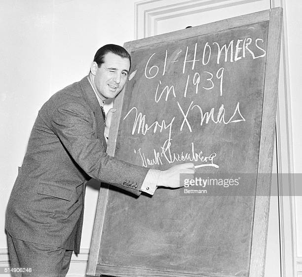 New York, NY: hank Greenberg, of the Detroit Tigers, makes his Christmas wish at the Waldorf Astoria Hotel, during the annual major league baseball...