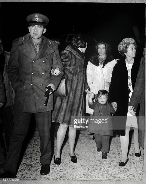 Rome, Italy- King Constantine, Queen Anne-Marie , Princess Irene and Queen Frederika walk from airport after arrival here Dec. 14, from Greece....