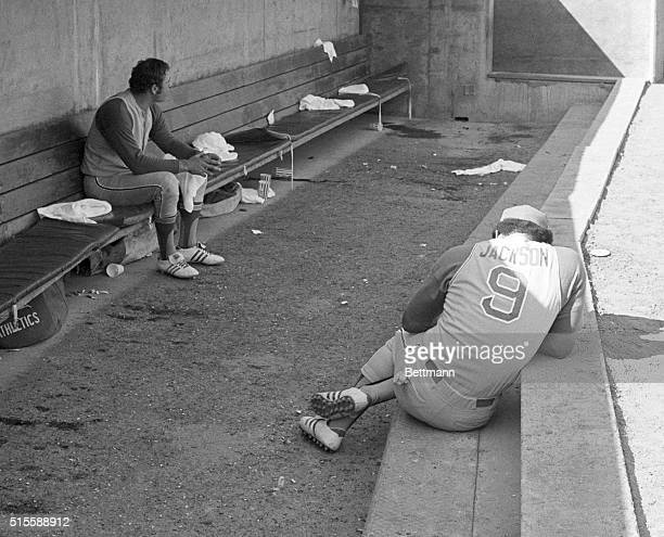 Oakland CA Oakland Athletics' Reggie Jackson is all alone and hunched over in the A's dugout after the Baltimore Orioles won the 3rth consecutive and...
