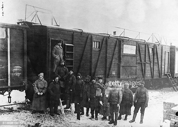 Photo shows sanitary diinfecting car on the transSiberian Railway Soldiers compelled to live in box cars for months take advantage of visits of this...