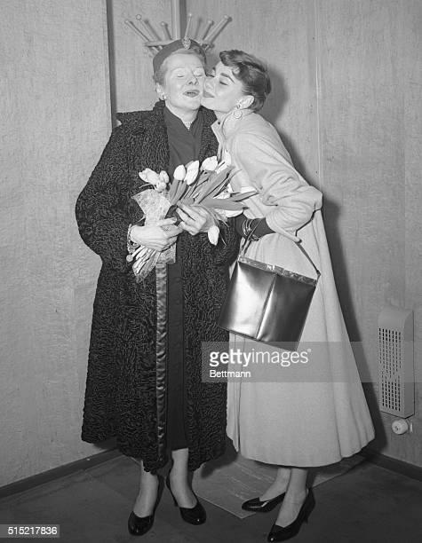 Hoboken, NJ- Baroness Ella Van Heemstra is warmly greeted by her daughter, stage and screen star Audrey Hepburn, aboard the liner Nieuw Amsterdam,...