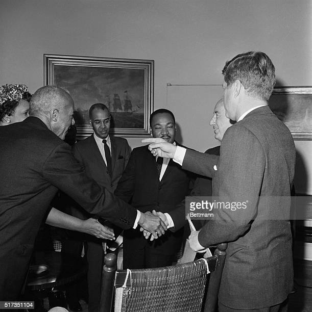 Washington DCPres Kennedy shown as he conferred with Negro Leaders at the White Housewho urged him for a greater role for Negroes in United States...