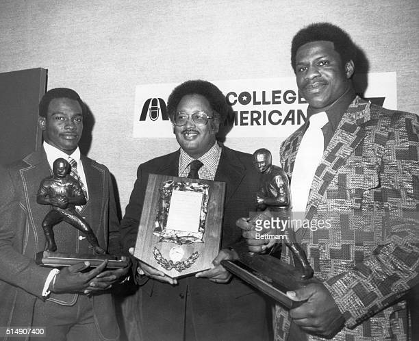 New York, New York- Winners of second annual Black College All-American Football Team Awards display trophies following presentation ceremonies. From...