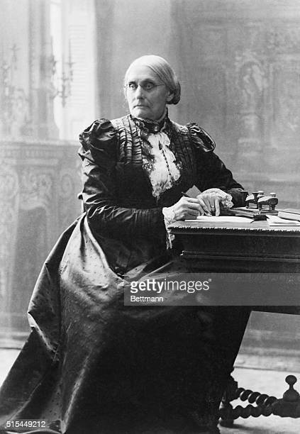 12/1898Suffragist Susan B Anthony seated at her desk