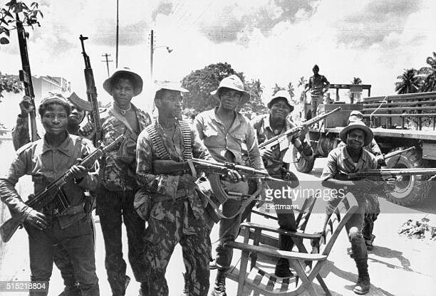 Caxito Angola Soldiers of the Sovietbacked People's Movement for the Liberation of Angola in happy mood at the village of Caxito 35 miles north of...