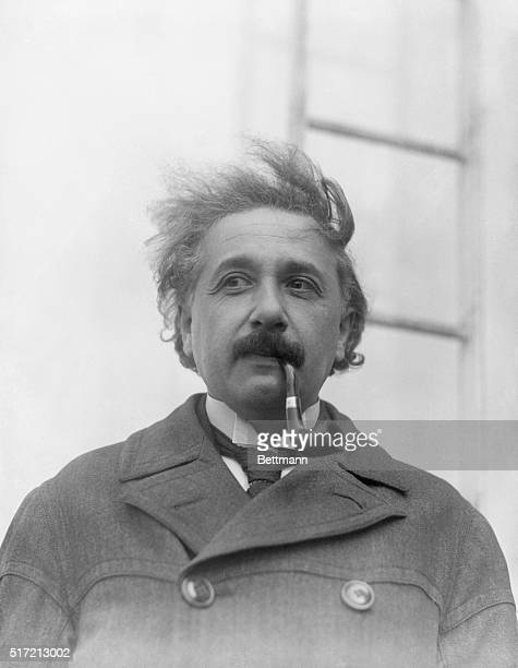 Professor Albert Einstein the famous german scientstwhose 'theory of relativity' has evoked world wide discussion photographed on his arrival in N Y...