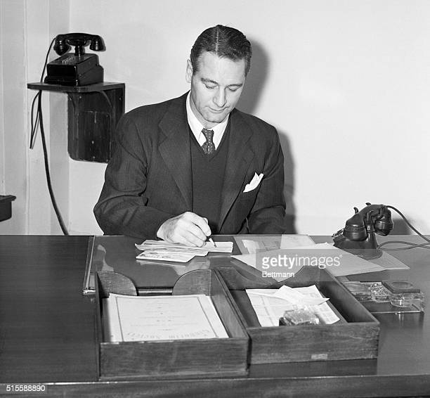 New York, NY: Portrait of Lou Gehrig, former first baseman for the New York Yankees, as he officially and quietly began his duties as one of New York...