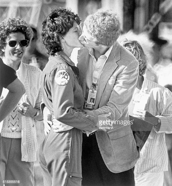 1/2/1984Cape Canaveral FL Astronaut Sally Ride gets a welcoming kiss from her husband Steve Hawley also an astronaut on Ride's arrival at Kennedy...