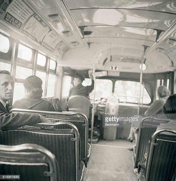 Montgomery AL Mrs Rosa Parks sits in the front of a city bus here December 21 as a Supreme Court ruling which banned segregation on the city's public...
