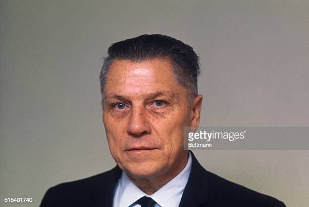 Closeup of James R Hoffa former president of the International Teamsters Union released from the Lewisburg Federal Penitentiary December 23 1971
