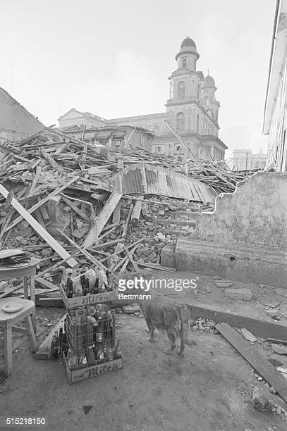 Managua Nicaragua A cathedral stands intact amidst rubble in the center of the city of Managua The city was hit by a devastating earthquake December...