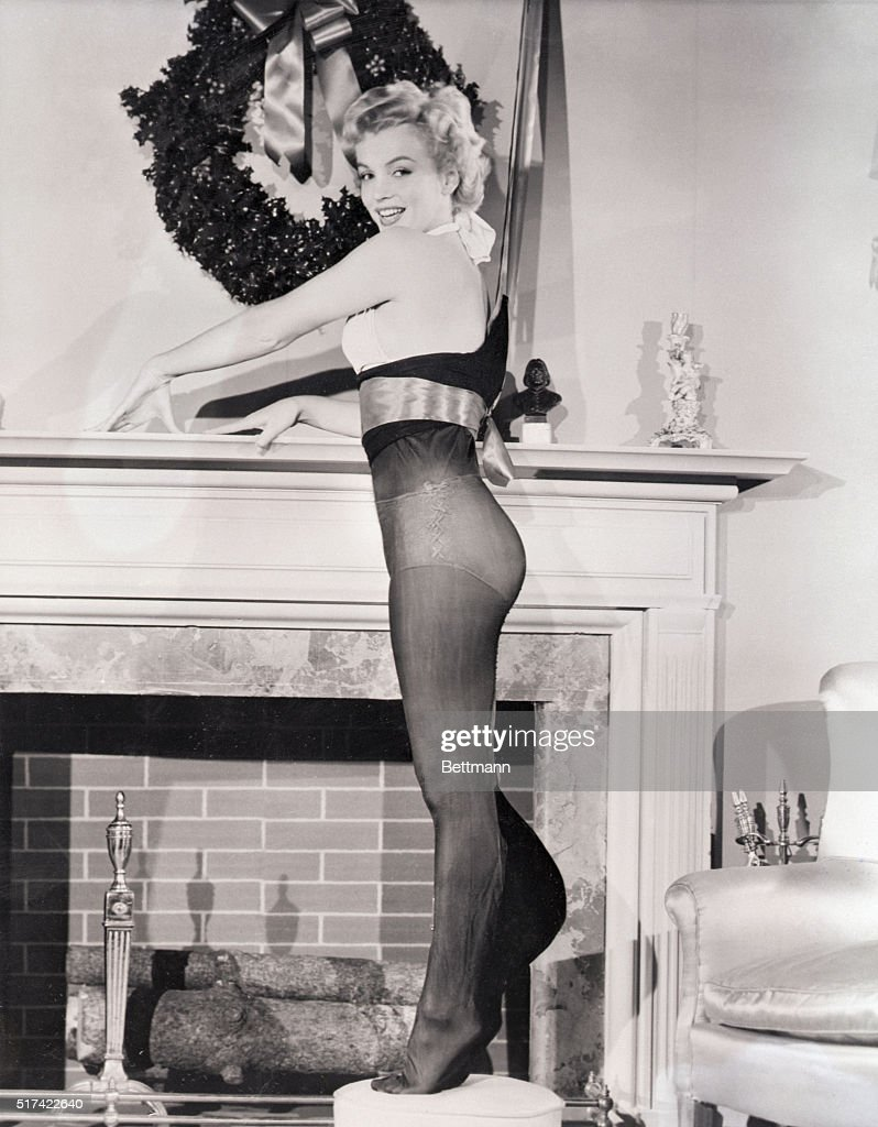 Hollywood, CA- Hollywood's lucious Marilyn Monroe shows what a really well fitted Christmas stocking should look like. The shapely actress was recently voted 'the Present all GI's would like to find in their Christmas stocking,' so she takes time out from her current movie filming scheduele to do the best she can for her constituents.