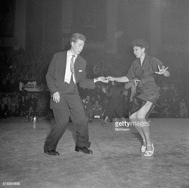 Germany The fast pace of t he jitterbug contest combines intricate steps with lots of excitment Charming Ellen Daub and her pertner Mannfred...