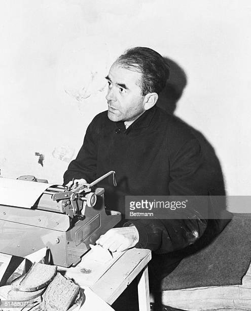 Nuremberg Germany Albert Speer Nuremberg defendent types a letter in his cell