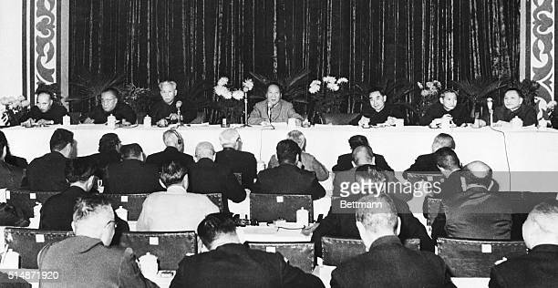Wuchang China Mao TseTung Chiarman of the Chinese Communist Party is flanked by other top officials as he addresses a session of the party's Central...