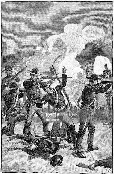 Government troops falling under fire during te Battle of Wounded Knee Creek South Dakota December 29 the last Sioux uprising of the Indian Wars...