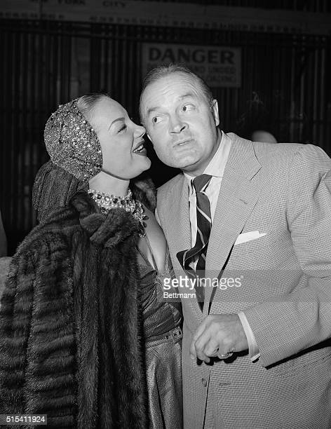 Hollywood CA It might be interesting to know just what Carmen Miranda was whispering into the ear of Bob Hope in this backstage photo at a charity...