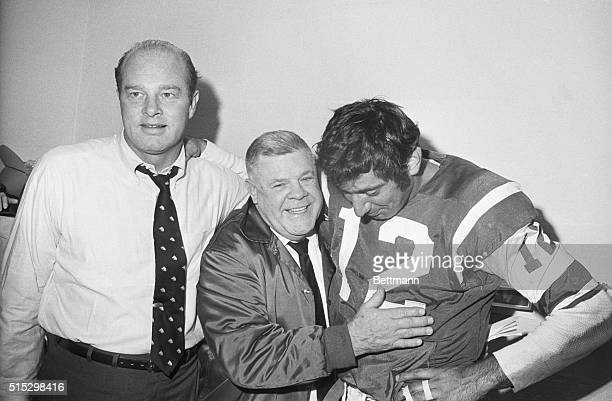 New York New York Delighted Jet coach Weeb Ewbank hugs his quarterback Joe Namath after Joe led the Jets to a 2723 victory over the Oakland Raiders...