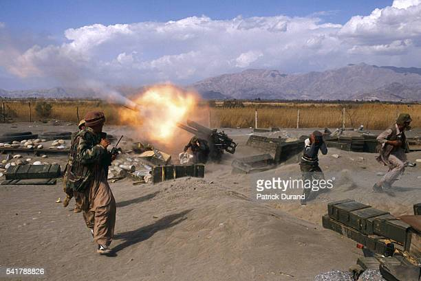 A 122mm cannon is fired in the Mujahidin camp of Samarkhel As part of their war against the Soviet forces invading Afghanistan the Mujahidin...