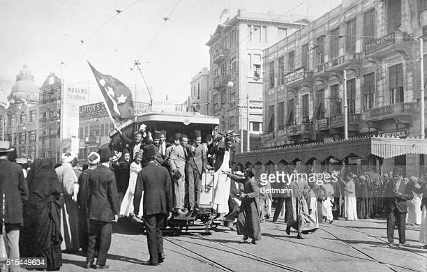 Cairo Egypt Photo shows students in Cairo taking posession of street cars and forcing the motorman to do their bidding during rioting