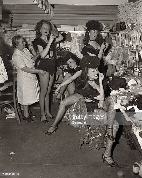 New York NY New Year's Eve is just another job for the showgirls at the Diamond Horseshoe Here they are at midnight getting ready for the show...
