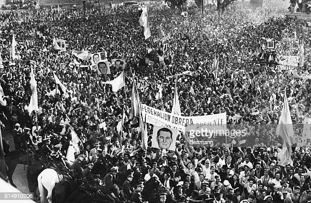 1/23/1945Buenos Aires ArgentinaEnthusiastic supporters of Colonel Juan Peron former Argentine vicepresident gather before the government palace in...