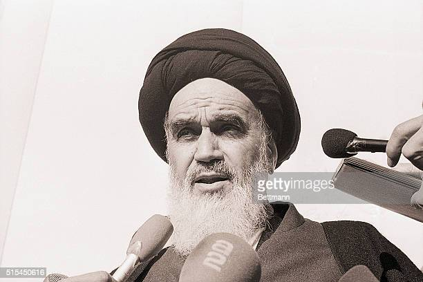 Exiled Moslem leader of Iran Ayatollah Ruhollah Khomeini is shown in this closeup taken at Neauphle LeChateau France