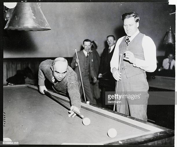1/24/1936Germantown PA Bing Miller Boston American outfielder and Rube Walberg Boston American pitcher exchange bats for billiard cues at the YMCA in...