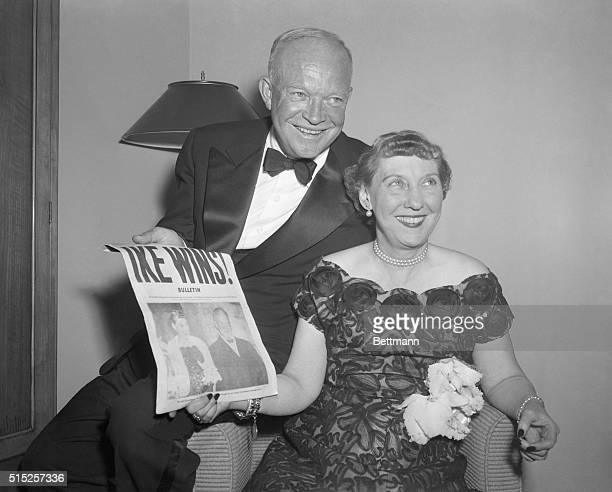 """New York: Newly-elected President General Dwight D. Eisenhower and his wife, Mamie, joyfully read newspaper headline """"Ike Wins"""" at G.O.P...."""