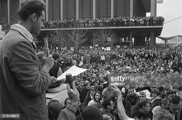 12/4/1964Berkeley CA Mario Savio one of the leaders of the Free Speech Movement at the University of California tells 5000 persons at a rally that...