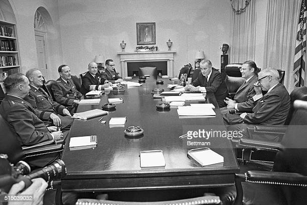 12/4/1967Washington DC President Johnson met in the White House today with Defense Secretary Robert McNamara and the Joint Chiefs of Staff for a...