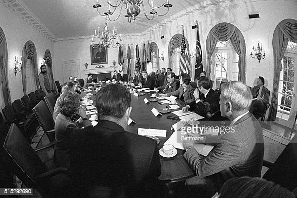 1/24/1977Washington DC President Carter holds his first Cabinet meeting 1/24 in the White House Attending the meeting are Bert Lance Patricia Harris...