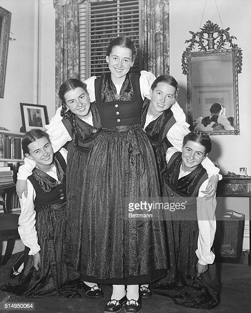 12/5/1938New York NY The five daughters of Count Georg Von Trapp are shown here in a pyramid pose during a rehearsal interlude in preparation for...