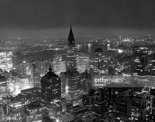 Looking East from atop the RCA Building The Chrysler Building is center The United Nations Building is to the far left ACME Photograph BPA