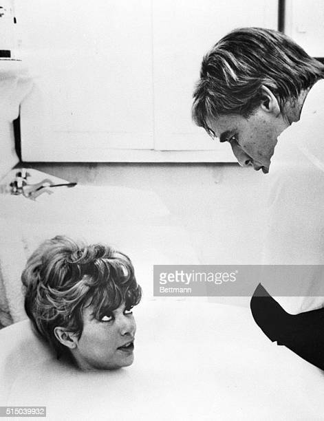 12/5/1967Lettouquet France Rita Moreno is in a tub while chatting with Marlon Brando during the filming of The Night of the Following Day Besides his...