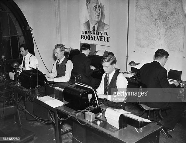 "Washington, D.C.- As President Roosevelt placed five governmental agencies in Washington D.C. On a ""war time basis,"" these teletype machines in the..."