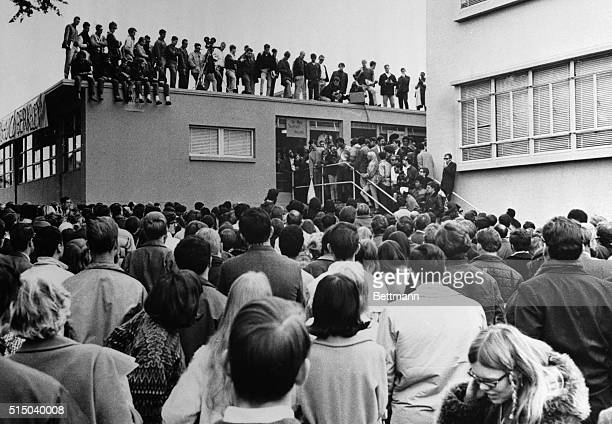 12/6/1967San Francisco CA Demonstrators and newsmen cluster around the Administration Building at San Francisco State College during a demonstration...