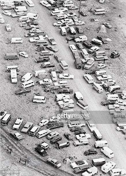 12/7/1969Livermore California Aerial view of cars parked at random near Altamont Speedway where an estimated 300000 rock music fans created a massive...