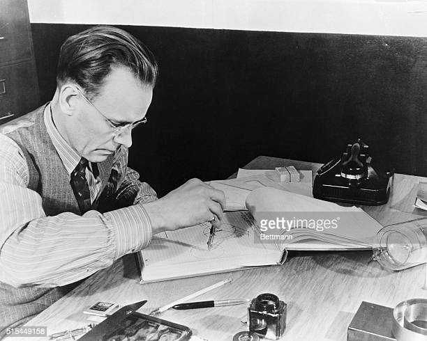 1/27/40Fort Wayne IN Pictured at work in the office of his laboratory in Fort Wayne is Philo T Farnsworth who was recently designated one of the Ten...