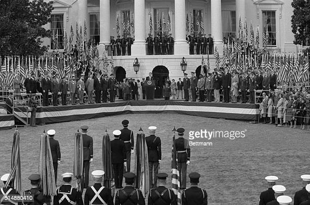 President Ronald Reagan welcomes the 52 American hostages freed from Iran 1/20 in a ceremony on the south lawn of the White House 1/27 The hostages...