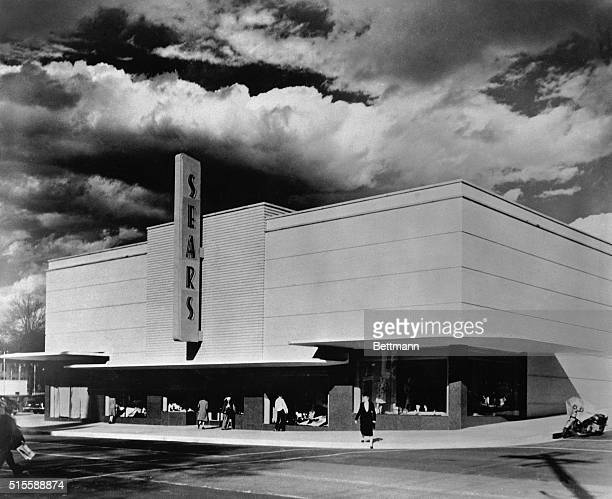 Exterior of the Sears Roebuck Co store in Jackson Mississippi in front of a cloudy sky