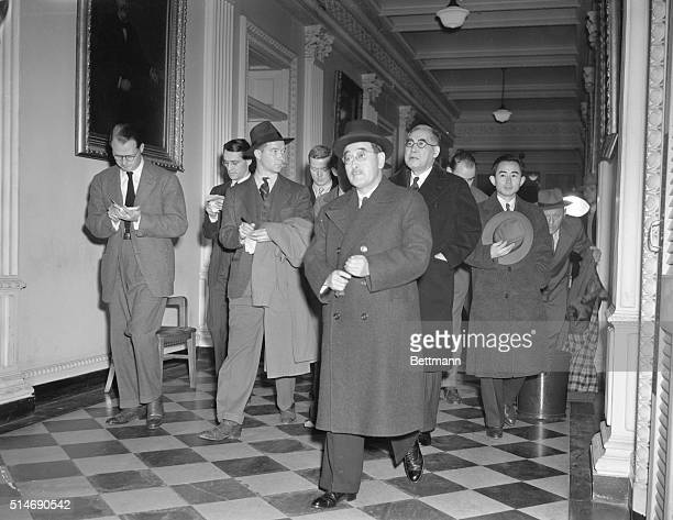 12/8/41Washington DC Saburo Kurusu special Japanese envoy and Admiral Kichisaburo Nomura Japanese ambassador to the US leave the office of Secretary...