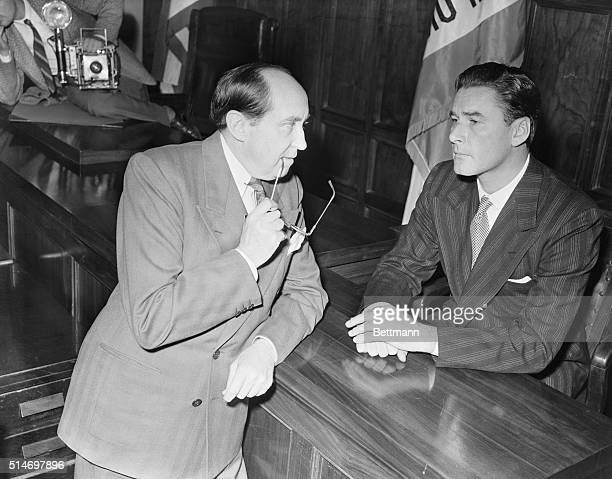 1/29/1943Errol Flynn on the stand during his trial